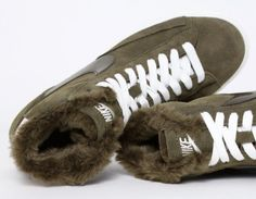 #Nike Blazer with Fur Khaki #Sneakers PLEASE MAKE FUZZY SHOES FOR MEN!