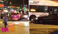 Car with unconscious driver rams into taxi and bus at Bugis