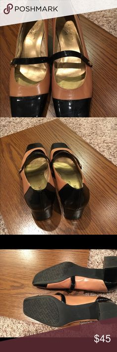 Two tone Anne Klein Mary Jane's Only worn three times, darling two tone Anne Klein Mary Jane shoes. Camel leather with black patent. Anne Klein Shoes Heels
