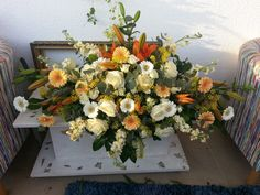 enormous flower arrangement with lilies, germini, roses, spray, mathiola and eucalypthus. Flower Arrangement, Floral Arrangements, Wedding Bride, Wedding Flowers, Lilies, Brides, Floral Wreath, Wreaths, Weddings