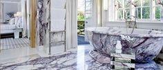 Lilac Marble: A bathroom design with lilac marble White Backround, Dark Blue Color, Travertine, Clawfoot Bathtub, Lilac, Marble, Minimalist, Stone, Bathroom