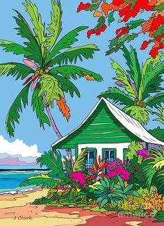 Beach Sketches, Ocean Drawing, John Clark, Beach Illustration, Hawaiian Art, Caribbean Art, Tropical Art, Surf Art, Whimsical Art