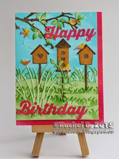 Handmade Birthday Card Impression Obsession Darice Spring Happy Birthday Words, Rose Stem, Impression Obsession, Wink Of Stella, Happy Flowers, Small Rose, Die Cut Cards, Studio Calico, Handmade Birthday Cards