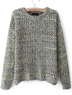 Green Long Sleeve Hollow Knit Sweater US$31.80