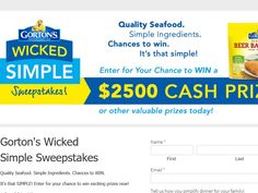 Enter The Gorton's Wicked Simple Sweepstakes for a chance to win $2,500!