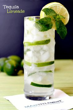 Tequila, limeade, mint and seltzer make this Tequila Limeade a perfect summer time drink. For best results, use El Consuelo Tequila. Summer Cocktails, Cocktail Drinks, Cocktail Recipes, Tequilla Cocktails, Cocktail Tequila, Margarita Recipes, Martinis, Bacardi Drinks, Easy Cocktails