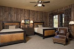 Beautiful neutral lodge guestroom. | Love the walls! But would only have one bed and no carpet