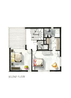 Houses Reciprocal Acquarelled by Boryana, via Behance