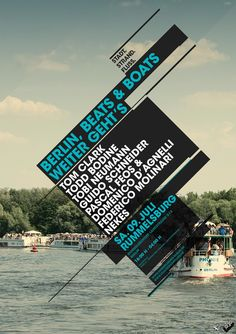 Stadt Strand Fluss 2011 by Paulo Melo, via Behance  Teal and black are my favorite colors together. Also, again, I like that the background is busy and the information is clean, clear, and concise but still interesting and fun.