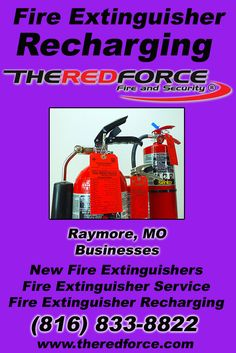 Fire Extinguisher Recharging Raymore,MO (816) 833-8822.. Local Missouri Businesses you have found the complete source for Fire Protection. Fire Extnguishers, Fire Extinguisher Service.. We're got you covered.. The Red Force Fire and  Security