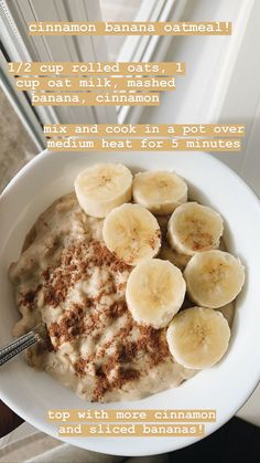 cinnamon banana oatmeal, gluten and dairy free vegan vegetarian recipes, easy an. - cinnamon banana oatmeal, gluten and dairy free vegan vegetarian recipes, easy and quick school brea - Vegetarian Recipes Easy, Healthy Breakfast Recipes, Healthy Snacks, Snack Recipes, Cooking Recipes, Vegan Vegetarian, Healthy Oatmeal Recipes, Pescatarian Recipes, Diet Recipes