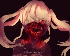 anime   anime girl   blood   creepy   flow   kaibutsu