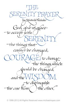 Serenity Prayer, Reinhold Niebuhr, Calligraphy Art Plaques & Inspirational Gifts by Michael Noyes