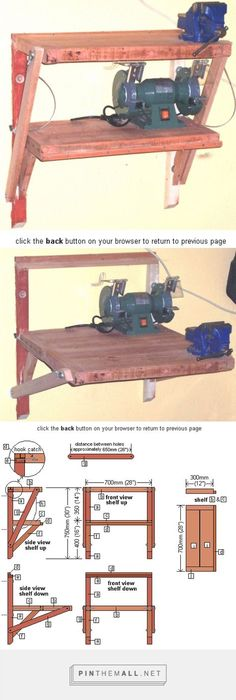 Wall bench goes from 2 shelves to 1 worktable.