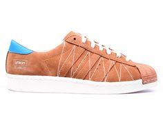 """Adidas Superstar 80v-union """"union"""" GS - Chaussure de Adidas Pas Cher Pour Femme/Enfant bois/blanc b34079GS"""