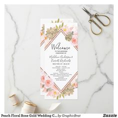 Shop Peach Floral Rose Gold Wedding Ceremony Program created by GraphicBrat. Chic Wedding, Trendy Wedding, Gold Wedding, Summer Wedding, Unique Wedding Programs, Wedding Ceremony Programs, Mint Flowers, Rose Gold Frame, Wedding Frames