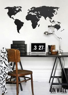 Large Vinyl wall World map decal  Removable door ONWALLstudio, $45.00