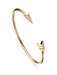 The FLOW collection ~ An 18k arrow stiff bracelet with diamonds by Padani