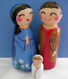 handpaintedloveboxes  Hand Painted Love Boxes Nativity Holy Family Wood Peg Dolls