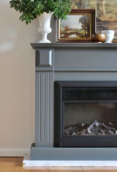 DIY Marble Fireplace Hearth | The Painted Hive