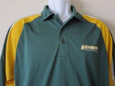 EDISON HIGH SCHOOL CHARGERS FOOTBALL Polo Shirt Green Yellow Huntington Beach Size Large