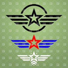 Template of military style emblem with star and wings, download royalty-free vector clipart (EPS)