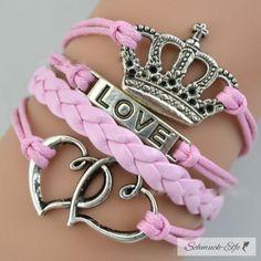 Armband Love & Krone rosa  im Organza Beutel