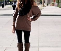 44 Fashionable Winter Outfits with Leggings and Boots to Copy Now - EveFashion Fall Winter Outfits, Autumn Winter Fashion, Fall Fashion, Winter Style, Winter Clothes, Fashion Ideas, Street Fashion, Fashion Pics, Big Fashion
