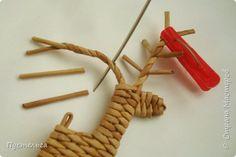 Олени для детских МК (всего 12 трубочек). Идея взята у мастеров плетения из лозы. фото 14