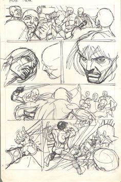 Comic Art For Sale from Anthony's Comicbook Art, Conan p.3 Fight Breaks Out!l Pencil/Marker Prelim by Comic Artist(s) Gil Kane