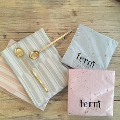 ferm LIVING Arch Tea Towels, Brass spoons and Confetti napkins.  Shop them here: http://www.fermliving.com/webshop/shop/kitchen.aspx