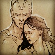 "annecain: ""Ahhh, I seriously love these two! A quick Scarlet Witch and Vision sketch just because. """