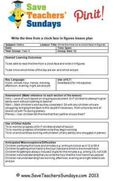 Daily MultiSubject Lesson Plan Template With Time  Elementary