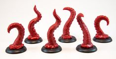 Shadows of Brimstone: 6 Tentacle Miniatures in Red - Flying Frog Productions
