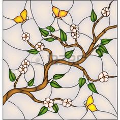 Japan cherry blossom with butterflies, vector stained glass window. Stock Photo - 17901422