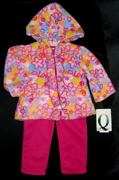 Baby Q Girls 3-6 Months 2-pc Fleece Outfit Hooded Top Pants Flowers Hearts Peace #BabyQ #Everyday