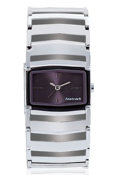This mid-sized shaped case gets a rather chunky look with the metal bracelet. The bold broad look of the strap gives this otherwise simplistic looking watch a very differentiated look. The broad metal bracelet, which showcases a deep purple dial, brings forth a trendy look for the new age girl.  His & Hers from Fastrack  http://www.fastrack.in/product/6062sm01/?filter=yes=hisandhers=25#