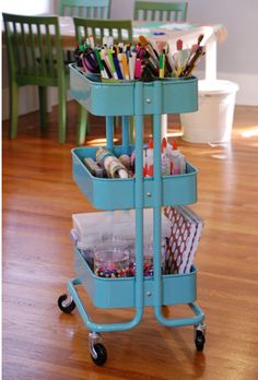How to set up an art cart, inspiration from Tinkerlab