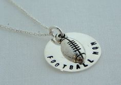 Hand Stamped Football Mom Necklace by rusticcharmjewelry on Etsy, $18.00