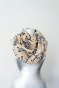 Zebra Scarf Khaki Scarf Animal Scarf Horse Scarf Summer Scarf Spring Scarf Beach Pareo Beige Pareo Animal Pareo Women Accessorry For Her