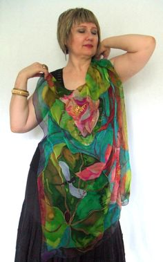 Silk Square Scarf LOTUS 1 Hand painted Exclusive Art by ArtbyLora, $75.00