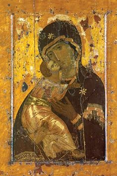 Vladimir Mother of God of Tender Mercy (Theotokos Eleoúsa). 12th c. Russian Icon.