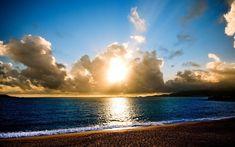 1920x1200 Wallpaper beach, sun, light, sea, lines, clouds, horizon
