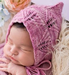 Knitting Pattern for Lacy Leaf Pixie Baby Bonnet - Pattern Includes Sizes: Newborn through 3-10 Years. Fingering weight yarn. Designed by Melody's Makings