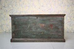 19th Century Antique Pine Bedding Box in Original Blue