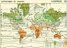 1897 Climate antique World map, Large size  Larousse print, 115 YEARS OLD Scientific Wall Art