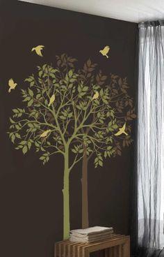 Summer tree for my wall art project, #stencil, #art, #wall treatment