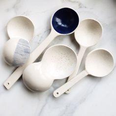 linda Fahey -- new porcelain spoons & ergo handled scoop
