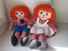 Vintage Handmade Raggedy Ann and Andy Dolls by GardeningGalAtWork