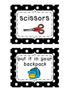 76 visual directional/instructional/transition cards for elementary students. There are directional cards for telling students what kind of supplies they might need (glue, tape, pencil, etc.); instructional cards (put this in your folder, pack up, color, write, etc.); and transitional cards (music, arrival, circle time, read a story, etc.) as well as special cards like birthday, field trip, and special activity.